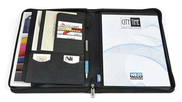 grigio Portablocco con Chiusura a Zip City Time in Tessuto Formato A4 Nero Blu Grigio