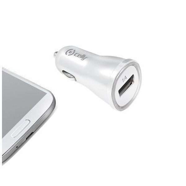 Celly CAR CHARGER - Universal 1A WITH USB PORT WHITE