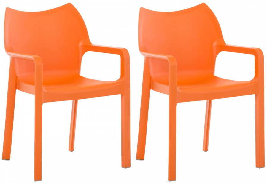Set di sedie impilabili diva arancione epto