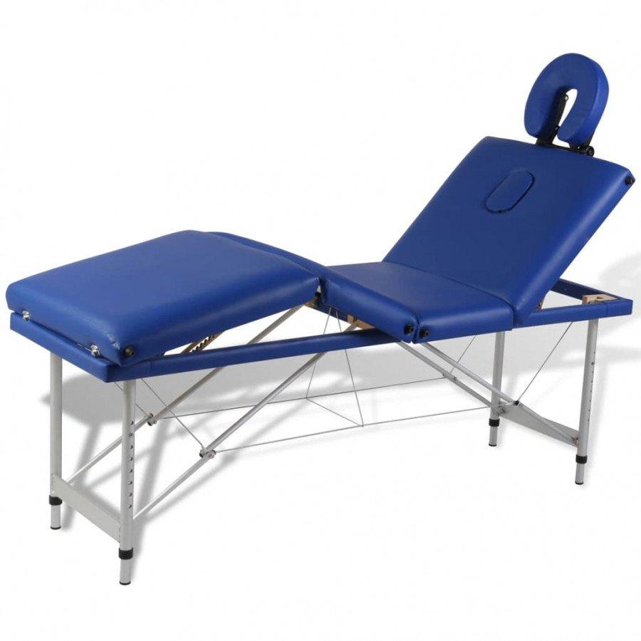 Lettino Pieghevole Massaggio.Vidaxl Arredo E Complementi Lettino Pieghevole Da Massaggio Blu 4 Zone Con Telaio Alluminio