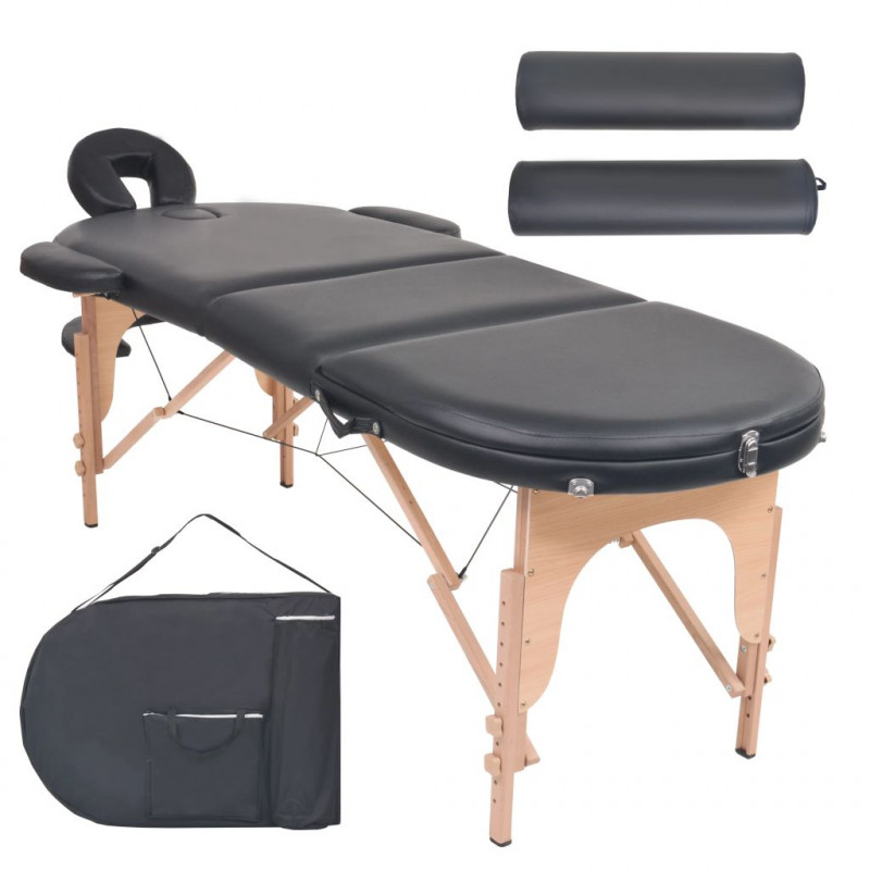 Lettino Pieghevole Massaggio.Vidaxl Arredo E Complementi Lettino Massaggio Pieghevole 10 Cm 2 Cuscini Ovale Nero