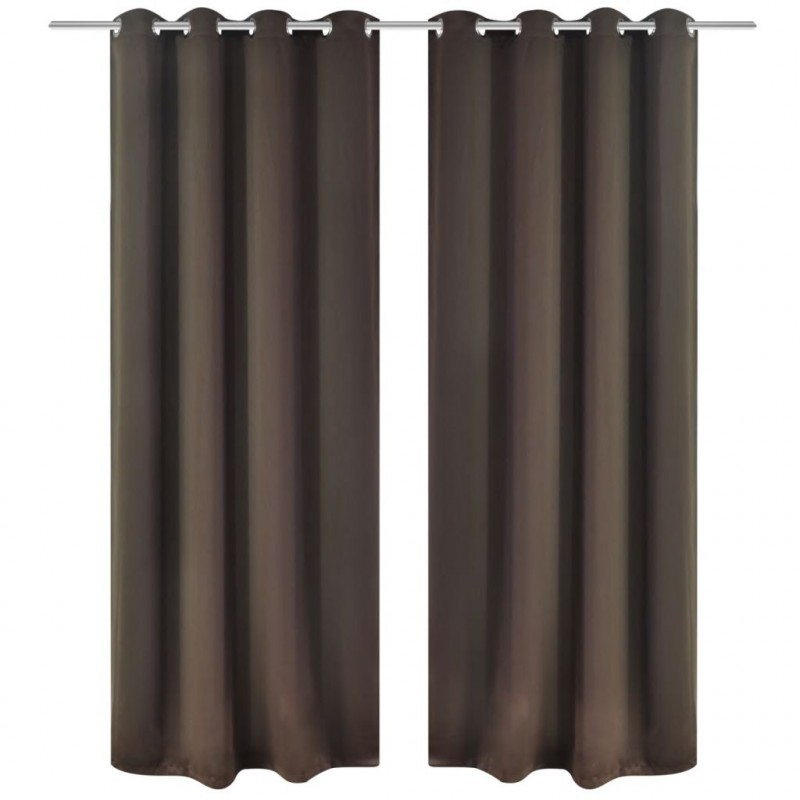 VidaXL Tende e Cuscini Set 2 Tende Oscuranti Marroni con Anelli Metallo  Blackout 135 x 245 cm