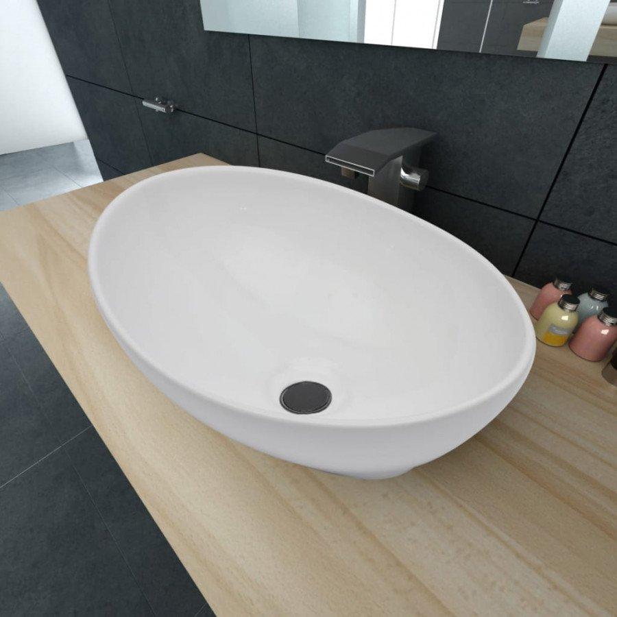 Lavello Ceramica Per Lavanderia.Vidaxl Bagno Lavello Bianco In Ceramica Di Lusso A Forma Ovale 40