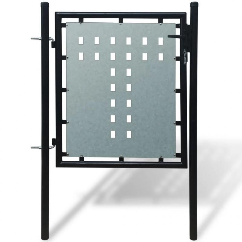 Vidaxl Cancello Cancelletto Per Recinzione Singolo Nero 100 X 125 Cm