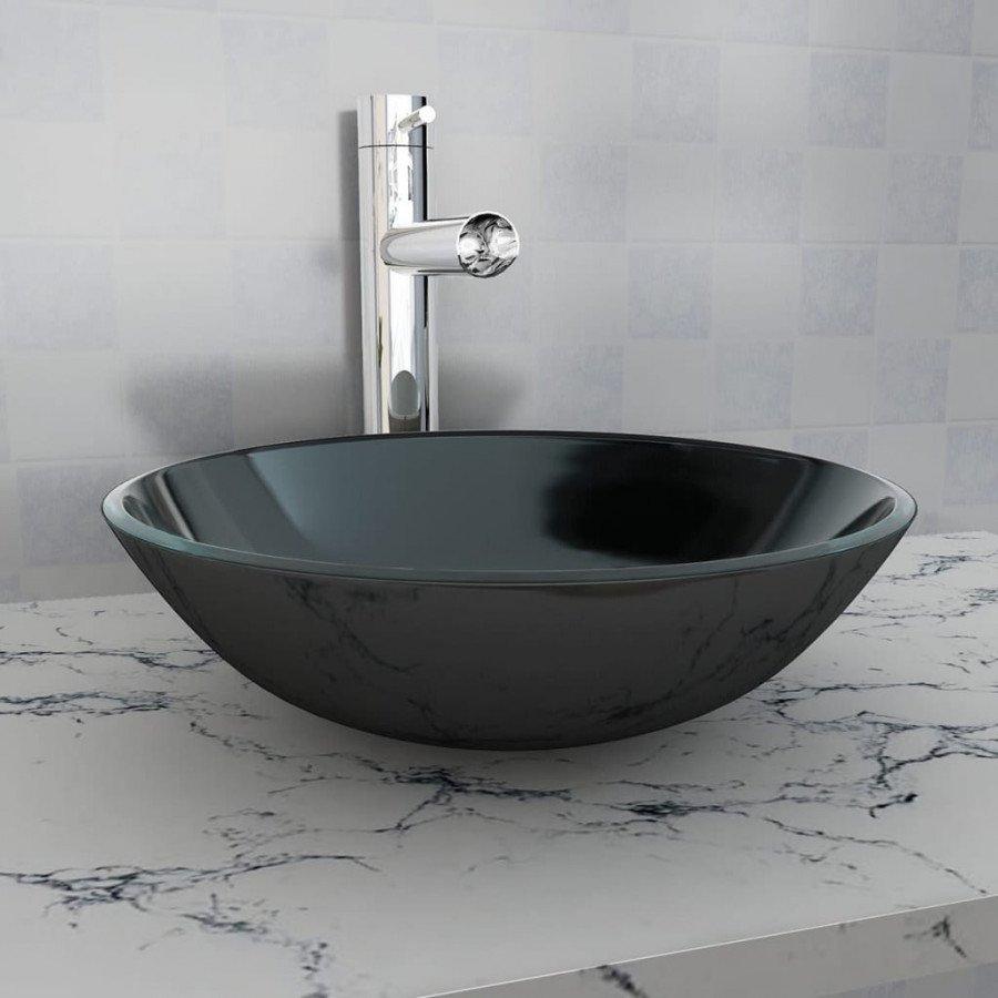 vidaxl lavandino  VidaXL - Bagno Lavandino in vetro temperato 42 cm nero - Epto