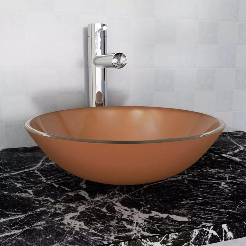 vidaxl lavandino  VidaXL - Bagno Lavandino in vetro temperato 42 cm marrone - Epto