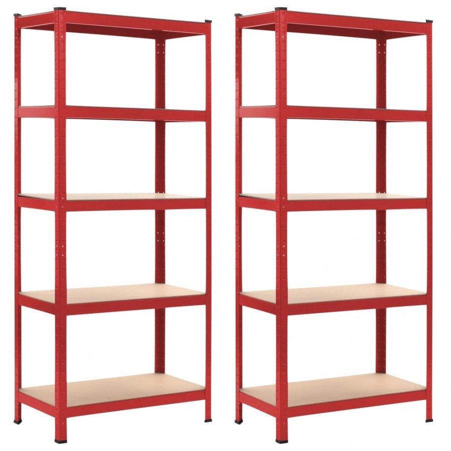 vidaxl stockage industriel etageres de rangement 2 pcs rouge 80x40x180 cm acier et mdf