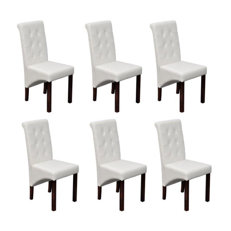 VidaXL 6 pz sedie per sala da pranzo bianche - Epto