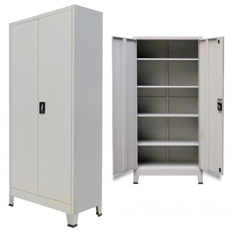 VidaXL Arredamento Casa Cucina Armadio per Ufficio con 2 Ante Acciaio  90x40x180 cm Grigio
