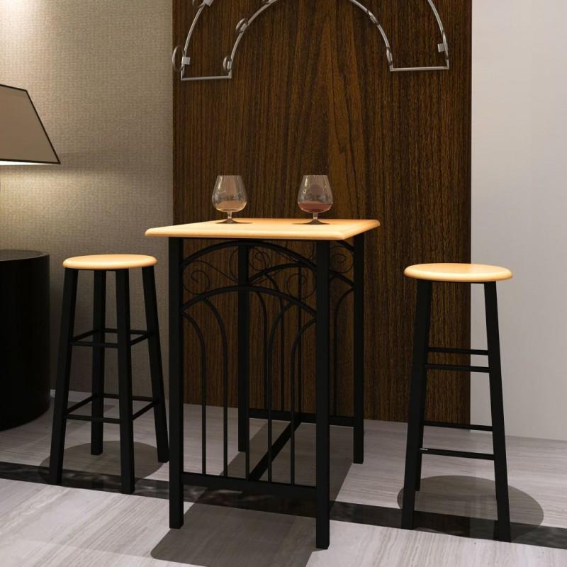 VidaXL Tavolo rettangolare da cucina con 2 sedie set in legno - Epto