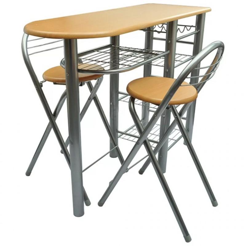 VidaXL Tavolo da cucina con sedie set in legno - Epto