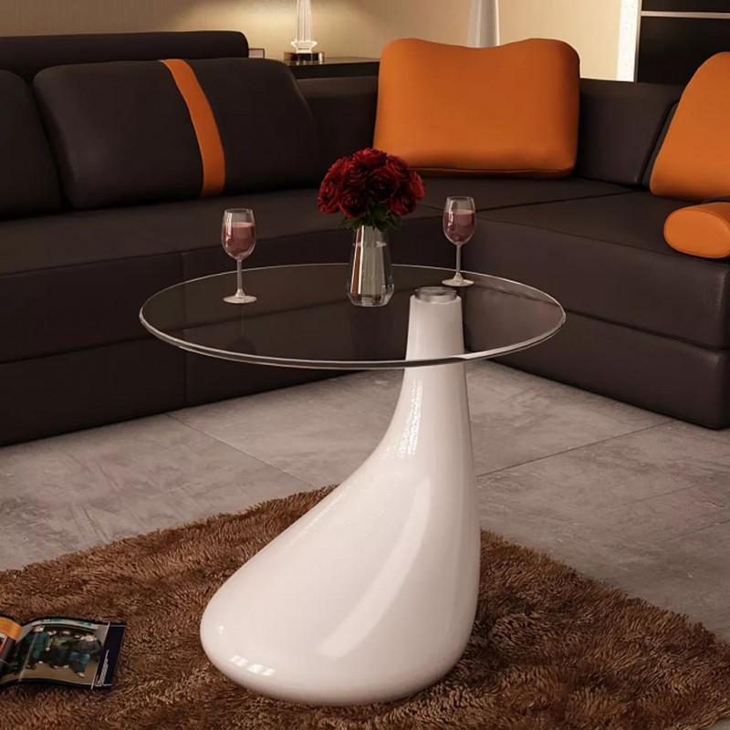 Vidaxl Tavolino Da Caffe Con Ripiano Rotondo In Vetro Bianco Lucido Arredamento Casa Cucina Epto