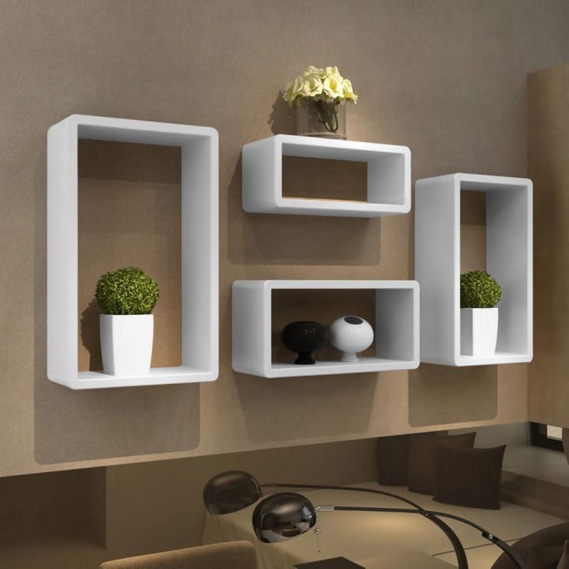Mensole Cubo Brico.Vidaxl Arredamento Casa Cucina Mensola A Cubo Set 4 Pz Bianco