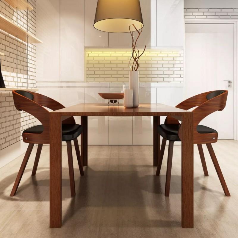 Sedie Design Legno E Pelle.Vidaxl Arredamento Casa Cucina Sedie Da Pranzo 2 Pz Marroni In