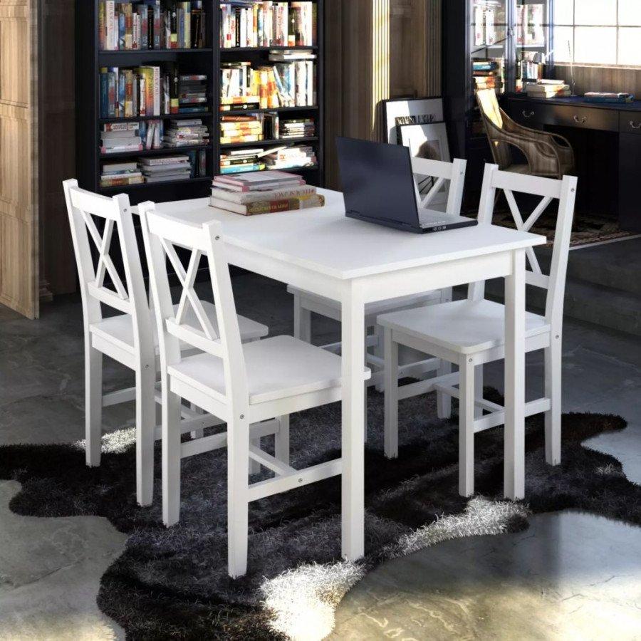 vidaXL VX240883 Juego de mesa con 4 sillas de madera blanco ...