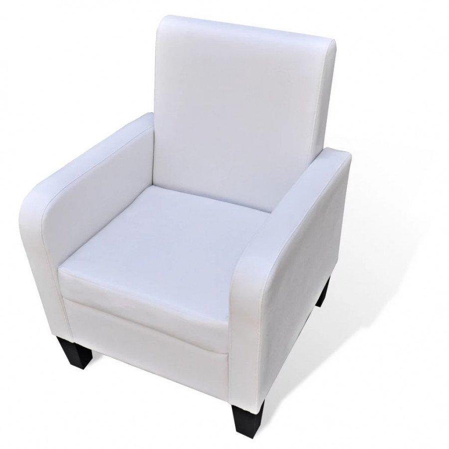 Fauteuils Cuir VidaXL et Blanc synthétique Fauteuil chaises y7bg6f