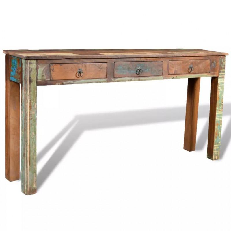 VidaXL Tavolo consolle con 3 cassetti in legno di recupero - Epto