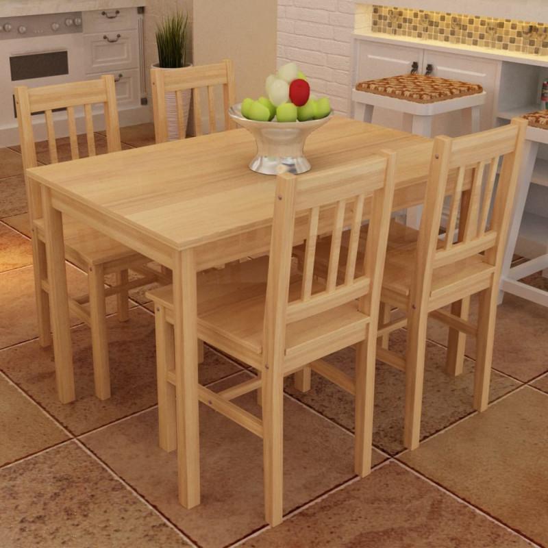 vidaXL Conjuntos de mobiliario Mesa de comedor con 4 sillas de madera,  color natural