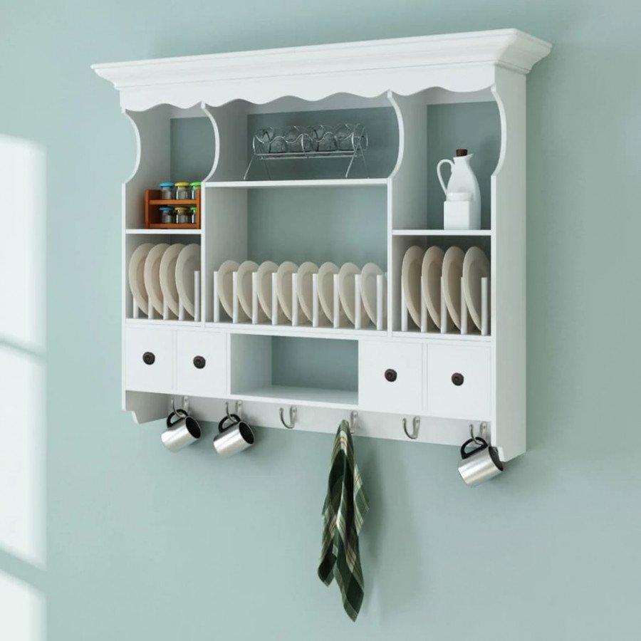 VidaXL - Arredamento Casa Pensile a muro da cucina in legno bianco ...
