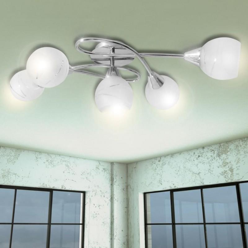 Vidaxl Lampada Da Soffitto Con Paralume In Vetro Per 5 Lampadine E14 Luci Illuminazione Epto