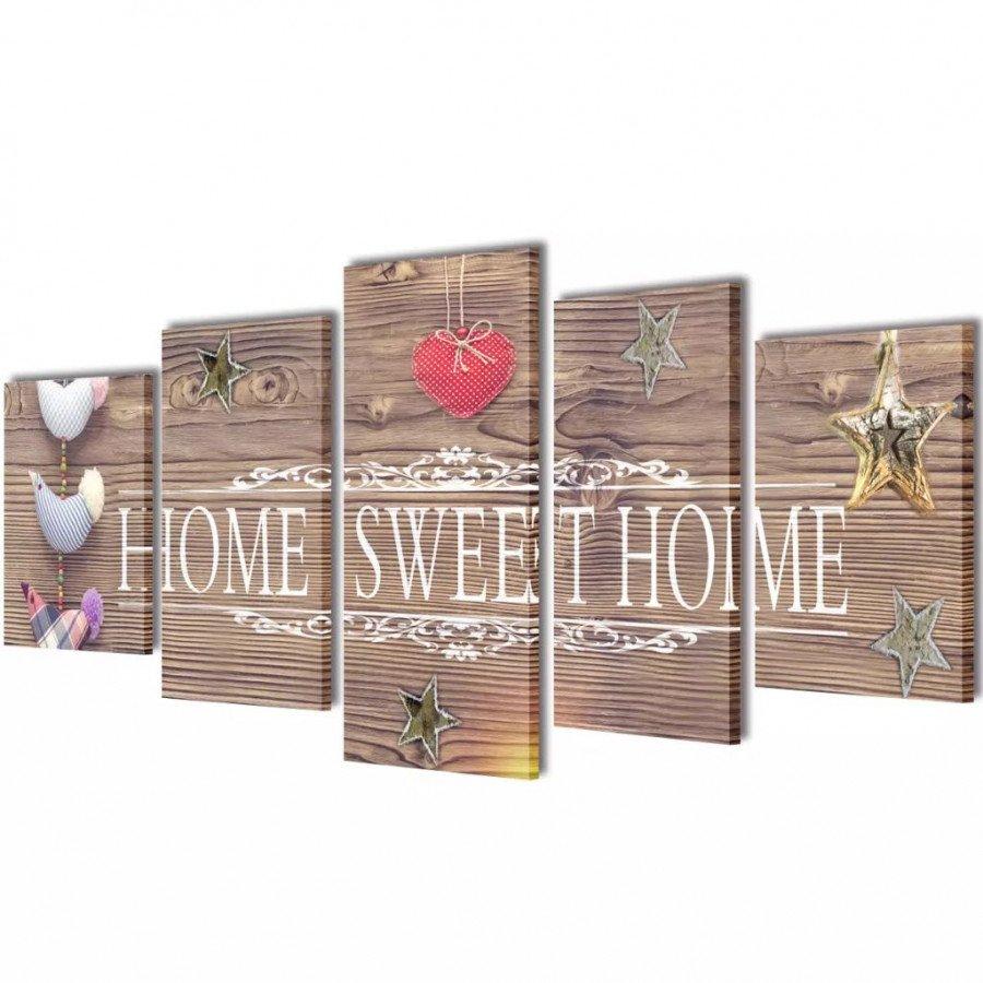 VidaXL Arredamento Casa Cucina Set Stampa su Tela da Muro 5 pz Home Sweet  Home 100 x 50 cm