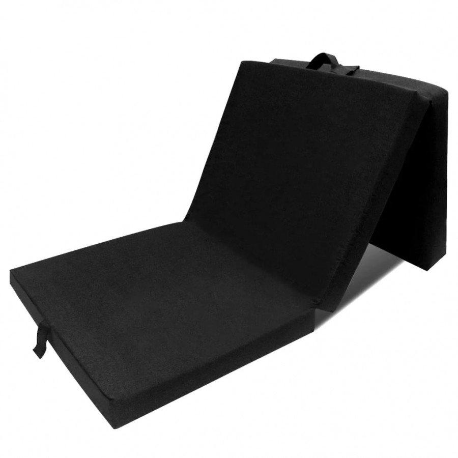 Vidaxl łóżka I Akcesoria Materac Składany Trzysegmentowy 190 X 70 X 9 Cm Czarny