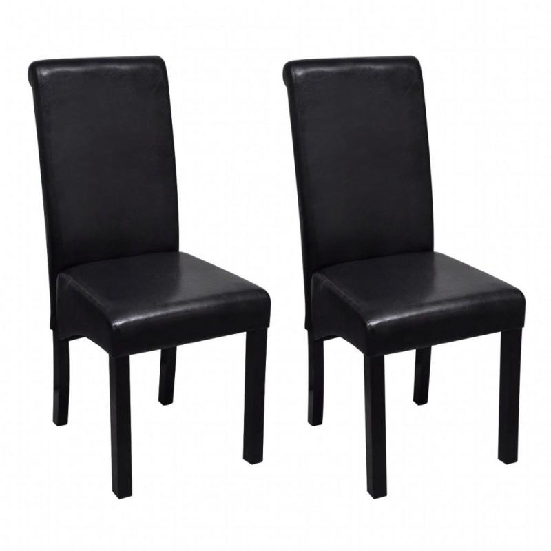 VidaXL Set 2 sedie da pranzo in pelle artificiale nera - Epto