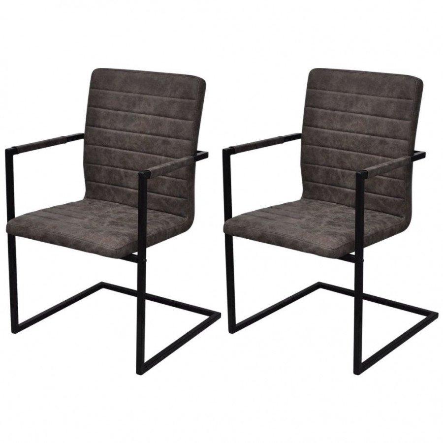VidaXL Fauteuils et chaises Chaises de salle à manger cantilever 2 pcs Marron Similicuir