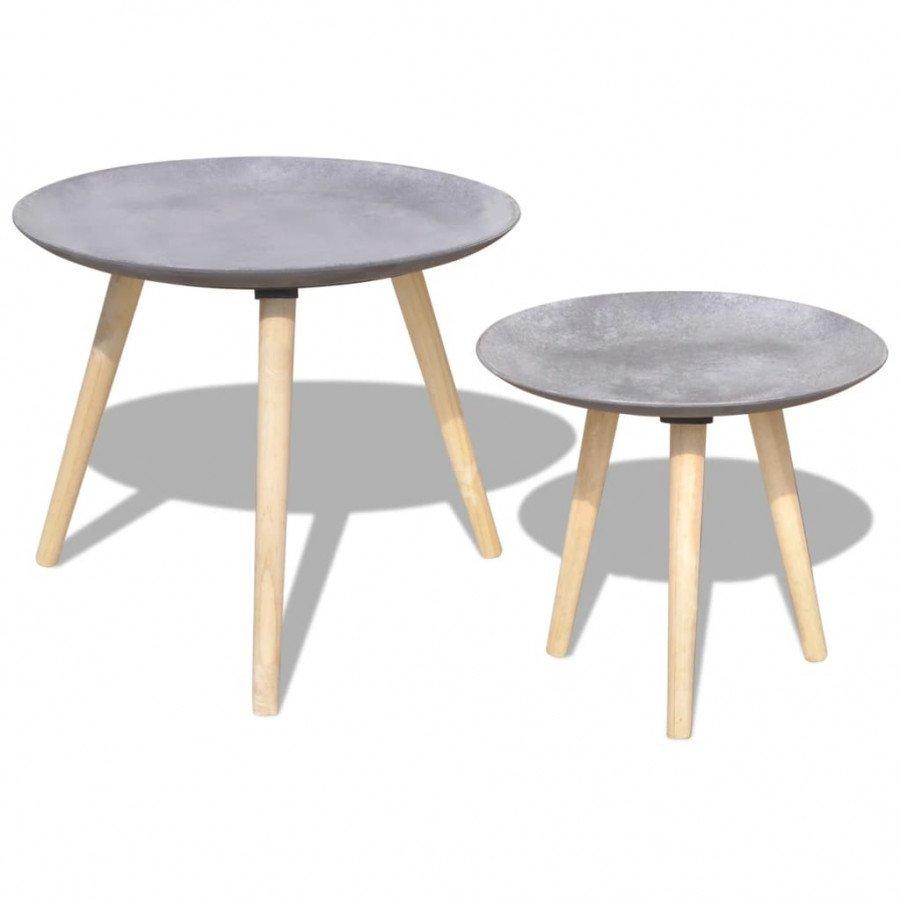 VidaXL Arredamento Casa Cucina Set Tavolino/Tavolino da Caffè 2 pz 55cm e  44cm Grigio Cemento