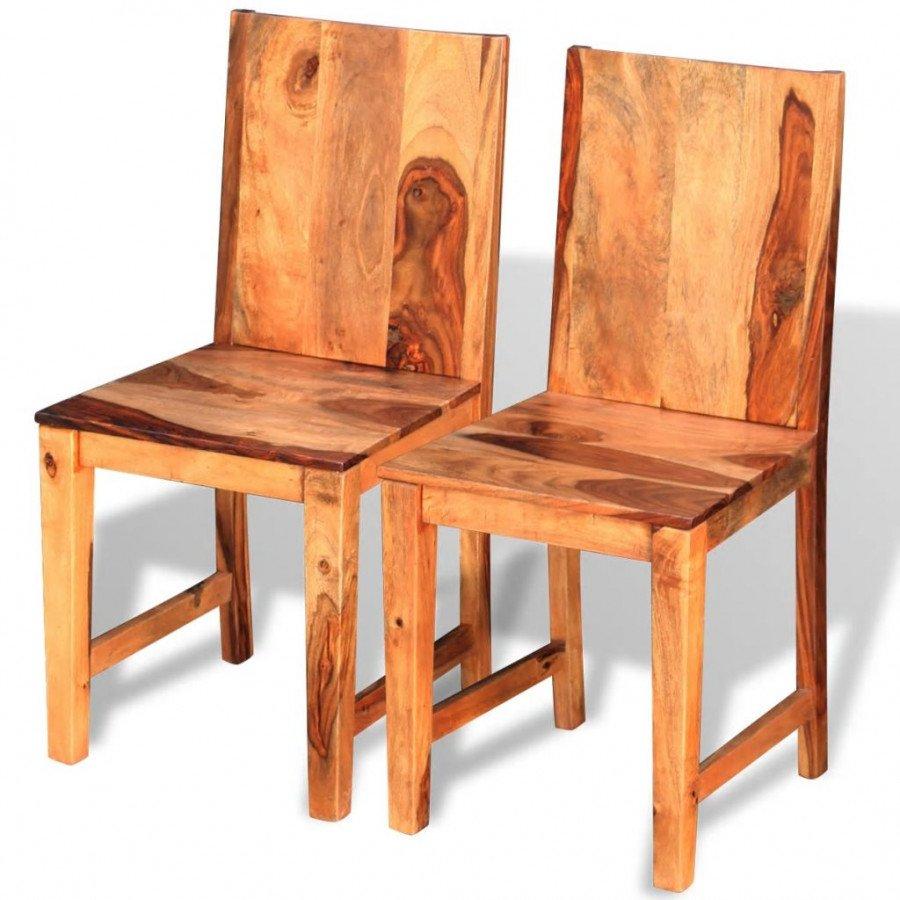 Sedie In Legno Massiccio.Vidaxl Arredamento Casa Cucina Sedie Da Pranzo 2 Pz In Legno Massello Di Sheesham