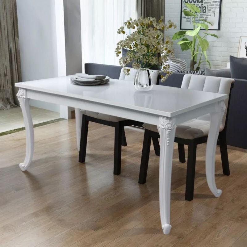 Vidaxl Tables Table De Salle A Manger 116 X 66 X 76 Cm Blanc Haute Brillance