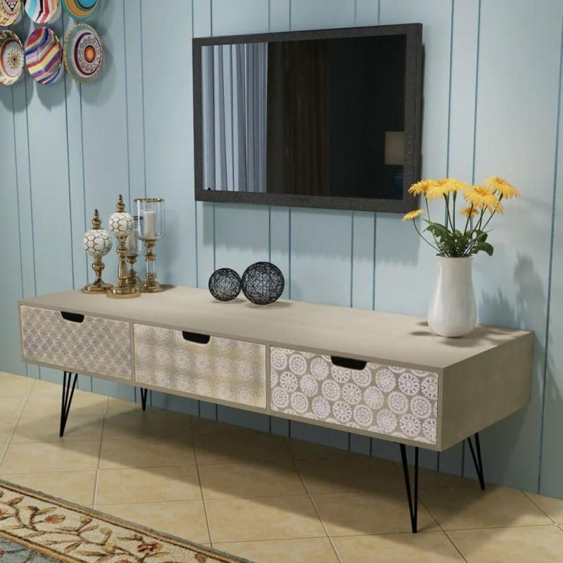 VidaXL Arredamento Casa Cucina Mobile Porta TV con 3 Cassetti 120x40x36 cm  Grigio