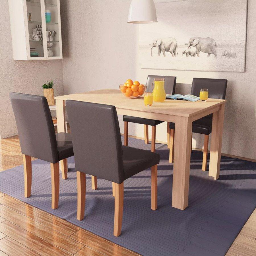 vidaXL Conjuntos de mobiliario Sillas y mesa de comedor 5 pzas roble y  cuero artificial marrón