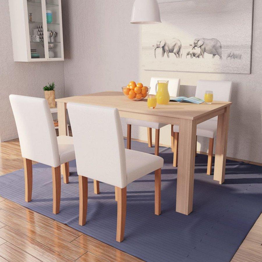vidaXL Sillas mesa de comedor 5 pzas roble cuero artificial color crema