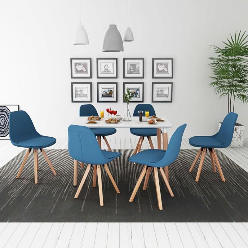 VidaXL 7 pz set tavolo e sedie sala da pranzo bianco e blu - Epto