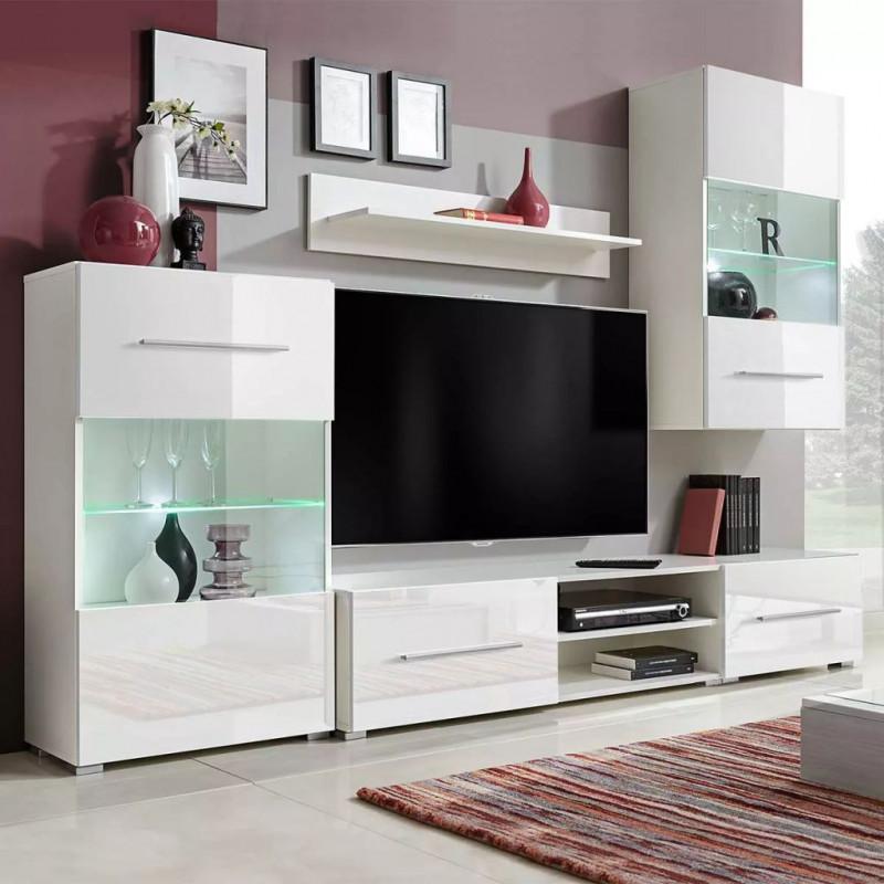 Arredamento Tv A Parete.Vidaxl Arredamento Casa Cucina Unita Mobile Vetrina Tv A Parete 5 Pz Illuminazione Led Bianco