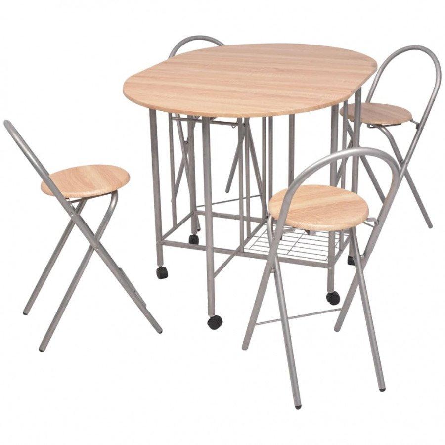 Set Tavolo E Sedie Cucina.Vidaxl Arredamento Casa Cucina Set Tavolo E Sedie 5 Pz Pieghevoli In Mdf