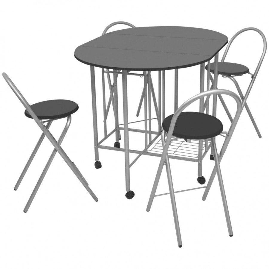 VidaXL 5 pz set tavolo e sedie pieghevoli in mdf neri