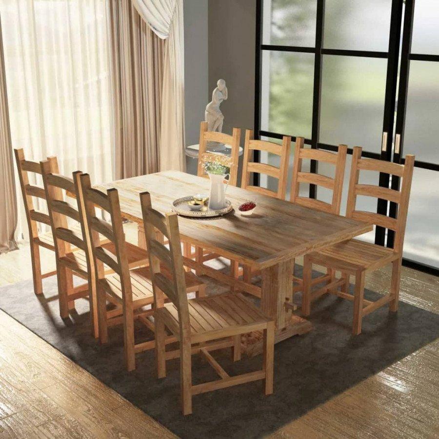 VidaXL Arredamento Casa Cucina 9 Pezzi Set Grande Tavolo e Sedie Sala da  Pranzo in Teak