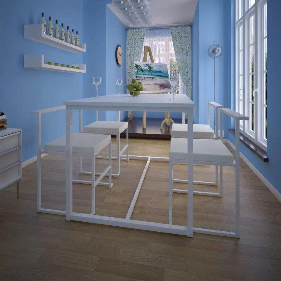 VidaXL - Arredamento Casa Set tavolo e sedie da pranzo 5 pz bianco ...