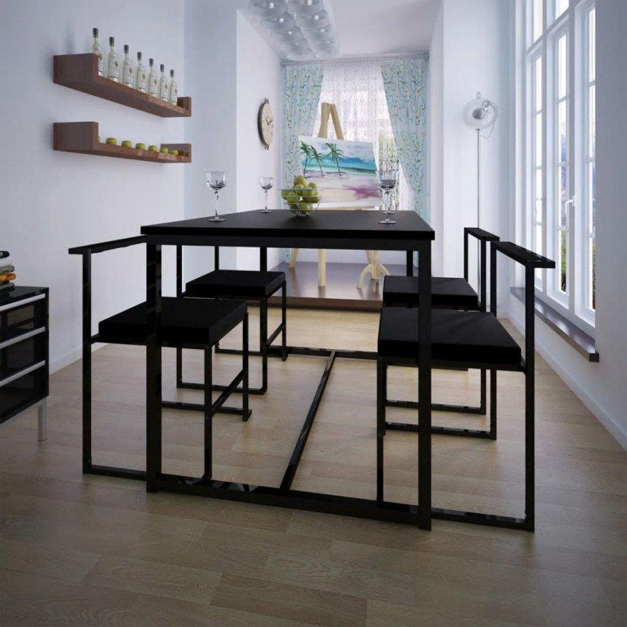 VidaXL 5 pz set tavolo e sedie sala da pranzo nero - Epto