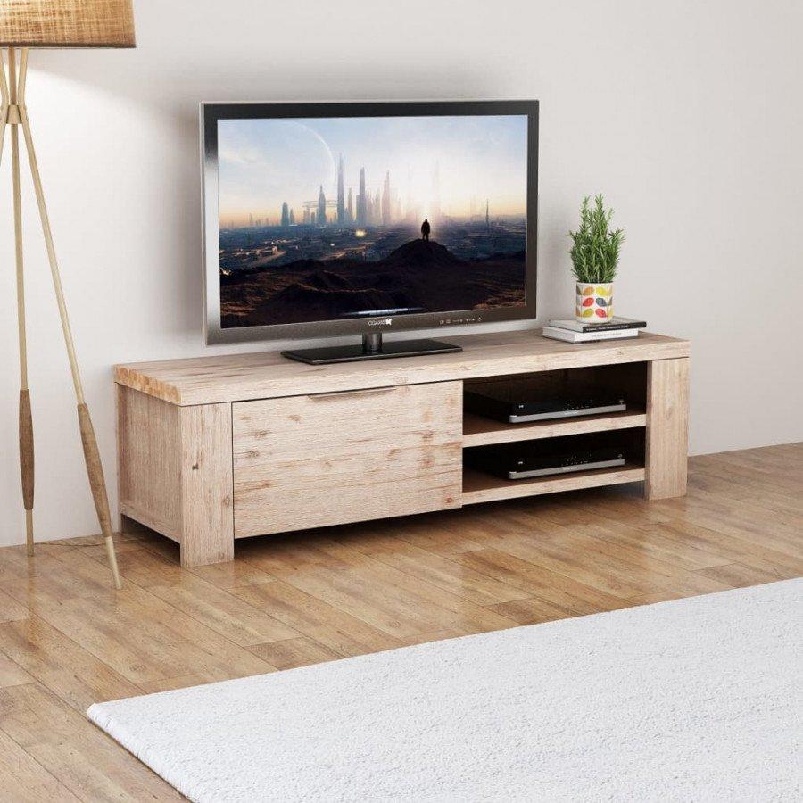 VidaXL Arredamento Casa Cucina Mobile Porta TV in Legno Massello Acacia  Spazzolato 140x38x40cm