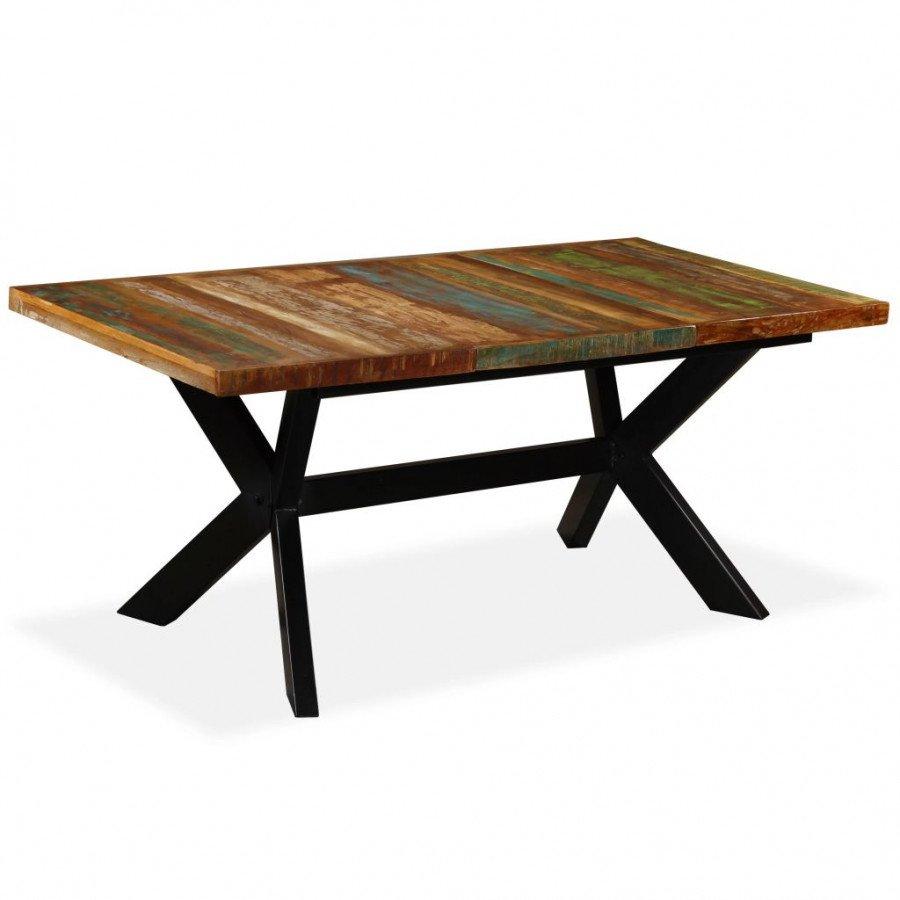 vidaXL VX244804 Mesa de comedor madera maciza reciclada y cruz de ...