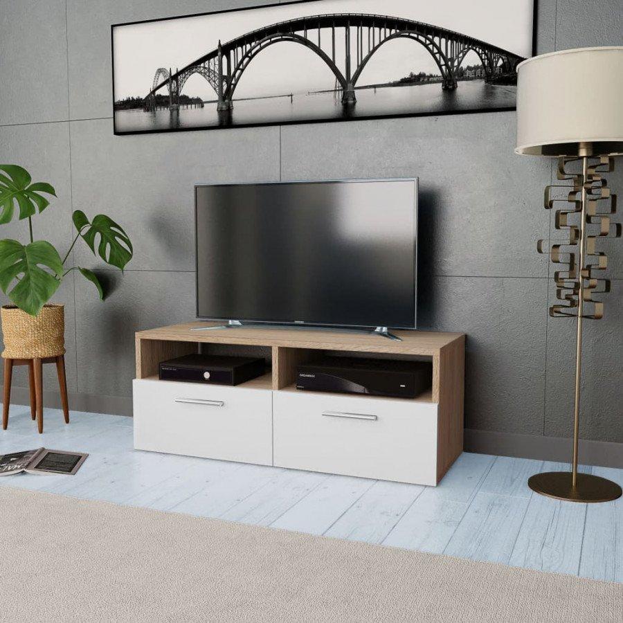 VidaXL Mobile porta tv in truciolato 95x35x36 cm rovere e bianco - Epto