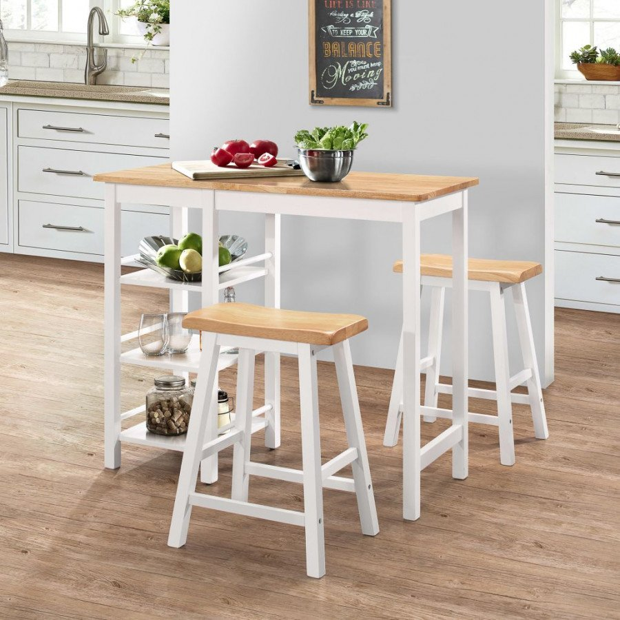 vidaXL Conjuntos de mobiliario Conjunto de mesa alta de cocina 3 piezas MDF  blanco