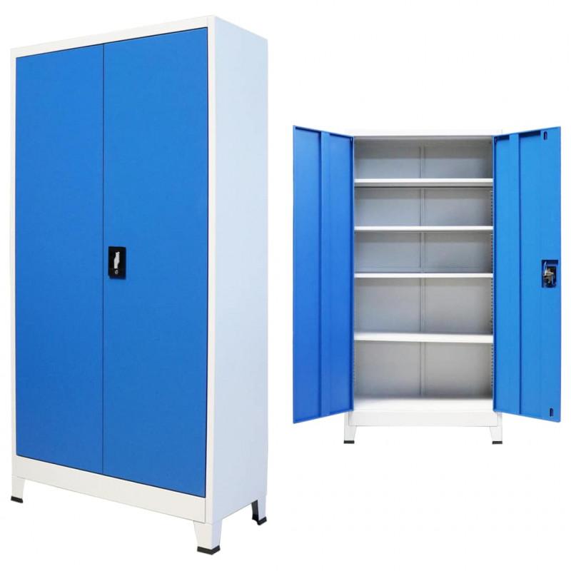 Armadi Di Metallo Per Uffici.Vidaxl Arredamento Casa Cucina Armadio Per Ufficio In Metallo 90x40x180 Cm Grigio E Blu