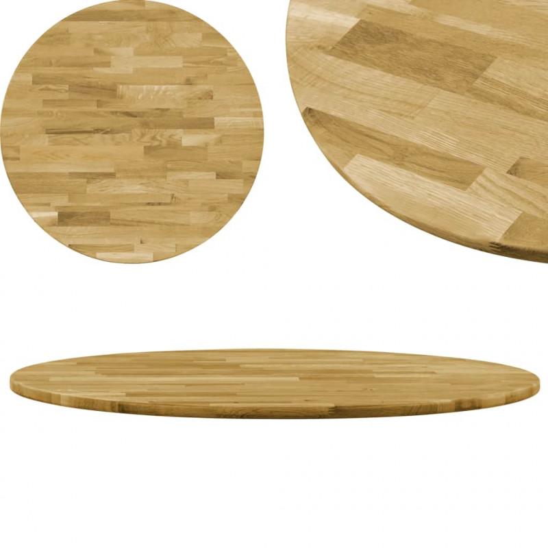 VidaXL Arredamento Casa Cucina Piano del Tavolo Legno Massello di Rovere  Circolare 23mm 700mm