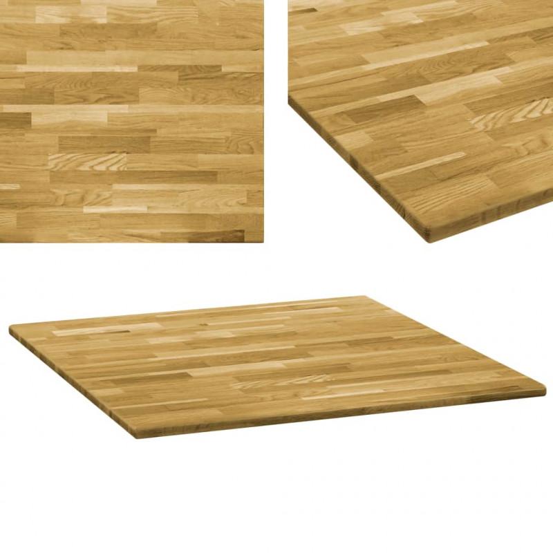 VidaXL Arredamento Casa Cucina Piano del Tavolo Legno Massello di Rovere  Quadrato 23mm 80x80cm