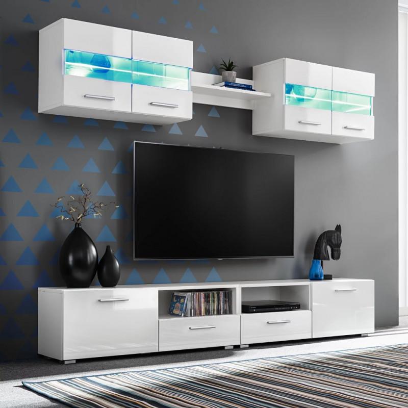VidaXL Arredamento Casa Cucina Set Parete Attrezzata Porta TV con Luci LED  5 pz Bianco Lucido