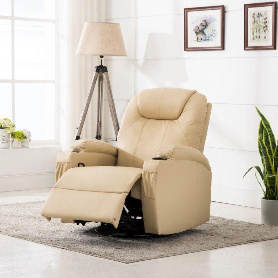 Poltrona Massaggiante.Vidaxl Arredamento Casa Cucina Poltrona Massaggiante Elettrica A Dondolo In Similpelle Crema